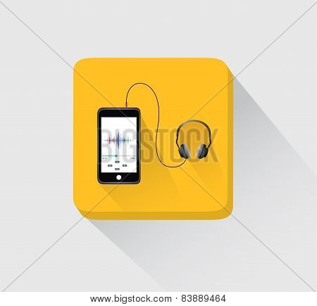 cell phone with head phone icon