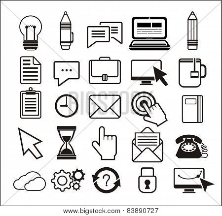 Set of black icons on white background
