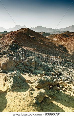 Beautiful Mountains In The Arabian Desert At Sunset
