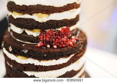 Wedding cake decorated with garnet