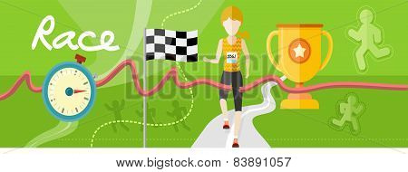 Winning athlete crosses the finish line