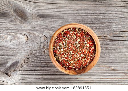 Dry Spices. Colour Dried Italian Spice For Pasta, On A Wooden Background