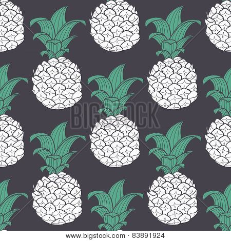 Stylized Violet Geometric Seamless Pattern With Pineapple