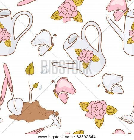 Gardening Seamless Pattern With Butterfly, Watering Can, Garden Tools, And Sprout