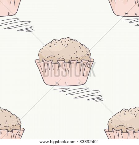 Hand Drawn Muffin Seamless Pattern In Vector