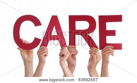 Many People Hands Holding Red Straight Word Care