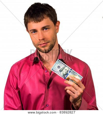 Man Holding 20 United States Dollars Banknotes Isolated On A White