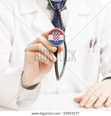 Doctor Holding Stethoscope With Flag Series - Croatia
