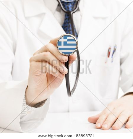 Doctor Holding Stethoscope With Flag Series - Greece - Hellenic Republic