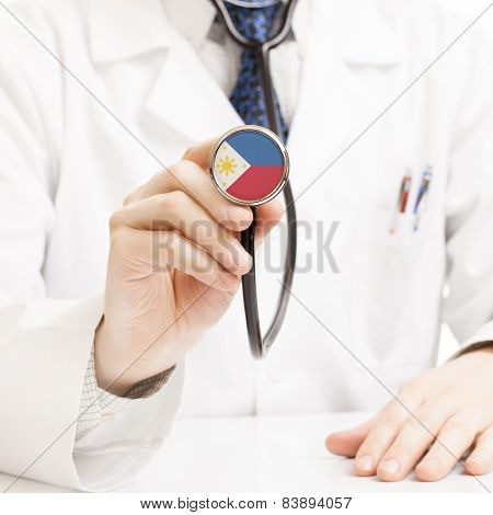 Doctor Holding Stethoscope With Flag Series - Philippines