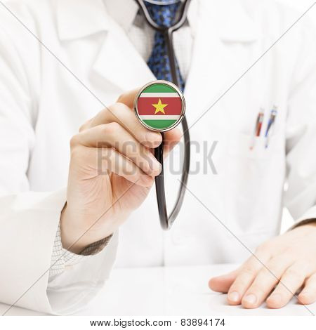 Doctor Holding Stethoscope With Flag Series - Surinam