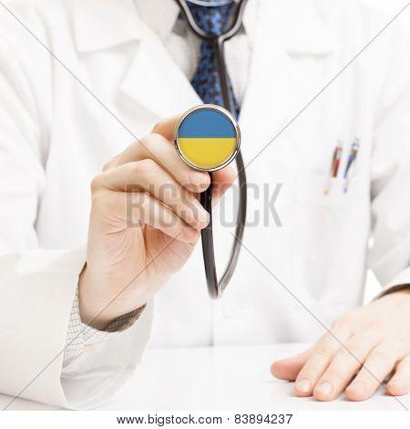 Doctor Holding Stethoscope With Flag Series - Ukraine