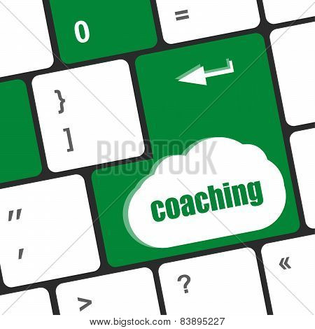 Coaching Button On Modern Computer Keyboard With Word Coaching On It