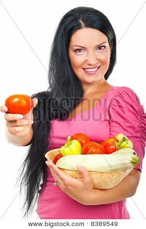 Happy Woman Giving Tomato