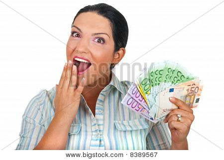 Surprised Woman With Hadful Of  Money