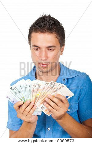 Man Holding  A Lot Of Money