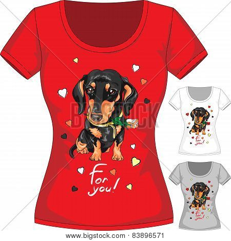 Vector T-shirt with dachshund and flower