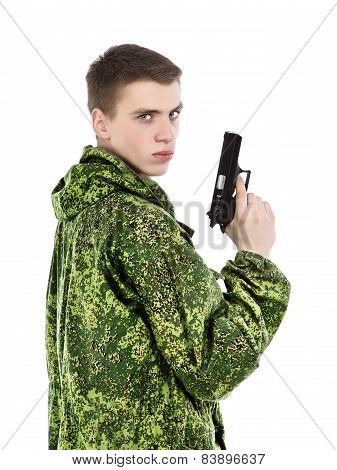 Military Man With Gun