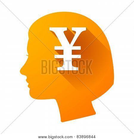 Female Head Icon With A Yen