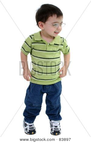 Adorable Toddler Boy In Glasses Over White