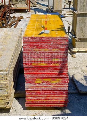 Stock of wood panels on a building site