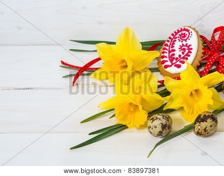 Narcissus Flower And Quail Egg And Easter Cookies