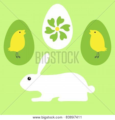 Greeting Card With Bunny, Chickens, Eggs And Flower