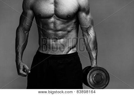 muscular bodybuilder guy close up monochrome