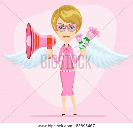 Young woman with a loudspeaker, vector illustration