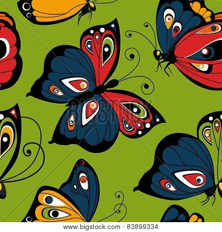 Flying butterfly seamless pattern. Spring illustration