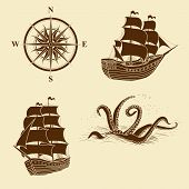 pic of kraken  - elements for design antique maps on a light background - JPG