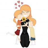 picture of ginger  - A cute ginger girl and boy surprise their ginger mom - JPG