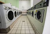 image of time machine  - line of laundry machine in shop during business time - JPG