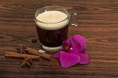 foto of cinnamon  - Espresso with orchid beans cinnamon star - JPG