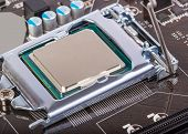 picture of processor socket  - CPU socket on motherboard with installed a processor