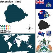 stock photo of ascension  - Vector map of Ascension Island with coat of arms and location on world map - JPG