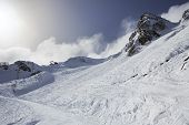 image of olympic mountains  - Mountain skitrack on the slope of Caucasus Mountains - JPG