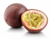 stock photo of passion fruit  - Passion fruit with cut half isolated on white with clipping path - JPG