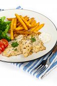 stock photo of catfish  - Fried Catfish fillet with vegetables - JPG