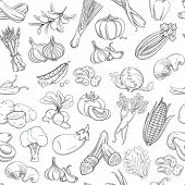 foto of outline  - Outline hand drawn vegetable pattern flat style - JPG