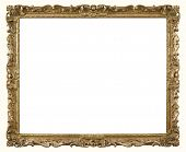 image of carving  - Old style photo frame in gold paint with ornate gilded carvings - JPG