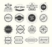 stock photo of stellar  - set of vintage badges and labels inspired by space themes vector illustration - JPG