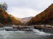 stock photo of appalachian  - View of the leaves changing colors above of the river rapids and Appalachian mountains through the Nolichucky Gorge in North Carolina - JPG