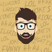 foto of comedy  - laughing guy cartoon character comedy theme vector illustration - JPG