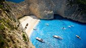 stock photo of shipwreck  - Aerial view of the most beautiful beach in Zakynthos island  - JPG