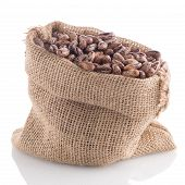 pic of pinto  - Closeup of Pinto beans bag on white background - JPG