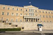 foto of evzon  - The Greek parliament and the unknown soldier tomb at Athens - JPG