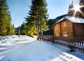pic of house woods  - Wooden house in the woods near a road in winter - JPG