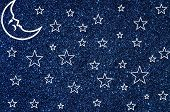 picture of blue moon  - Moon and white stars drawn on blue glitter background - JPG
