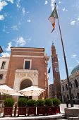 pic of vicenza  - Side view of the Palazzo del Capitaniato in Vicenza the clock tower and the town flag - JPG